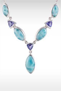 Larimarket - MarahLago Paloma Collection Larimar Necklace with Tanzanite, $996.00 (http://www.larimarket.com/marahlago-paloma-collection-larimar-necklace-with-tanzanite/)