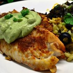 Crispy Chipotle Lime Tilapia with Cool Avocado Sauce(change breading to lower carb count :almond flour or Chicharrones) - Allrecipes.com