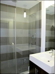 That's on point. I'd love a standing shower like that Brick Feature Wall, Standing Shower, Toronto Photos, Floor To Ceiling Windows, Granite Counters, Stainless Steel Appliances, Lofts, Locker Storage, Flooring