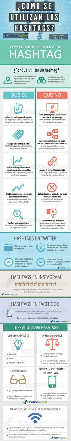 Redes Sociales: cómo usar los hashtags #infografia #infographic #socialmedia                                                                                                                                                                                 Más