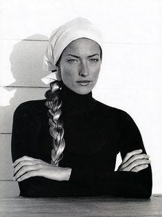"US Harper's Bazaar August 1993 ""Fundamentals"" Model: Tatjana Patitz Photographer: Thierry LeGoudes Hair: Peter Savic Makeup: Fulvia Farolfi"
