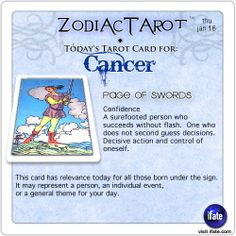 Daily tarot card for Cancer from ZodiacTarot! You can get a free astro birth chart online.   Visit iFate.com today! And for all today's ZodiacTarot cards, check out ZodiacTarot.com !