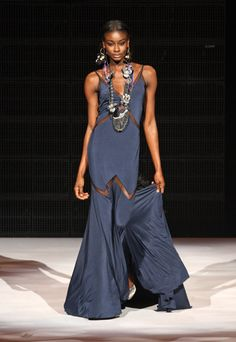 aminat (from america's next top model) wearing navy at NEW YORK FASHION WEEK
