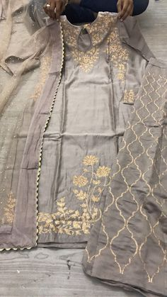 Chanderi silk suit with palazo