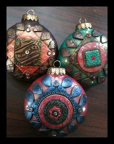 polymer clay ornaments with antiqued caps - jainnie jenkins / little bear studio