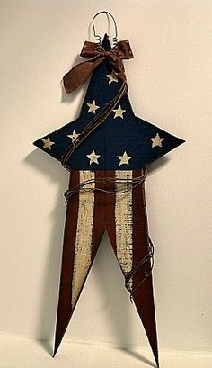 New Country Primitive Rustic WOOD AMERICAN FLAG STAR Americana Wall Sign Plaque #Flag