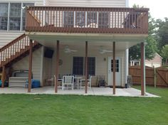Pergola Front Of House Under Deck Landscaping, Patio Under Decks, Decks And Porches, Garden Landscaping, Deck Ceiling Ideas, Under Deck Ceiling, Low Deck, Outside Patio, Back Patio