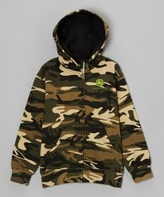 Take a look at this Camo Branded Zip-Up Hoodie - Boys by John Deere on #zulily today!
