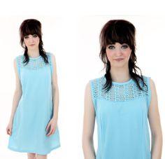 1960s Mod Dress Vintage 60s Blue Lace Sixties 70s A-line Medium M. $42.00, via Etsy.