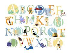 Abc Wall Art animal alphabet card set, nursery wall cards, animal alphabet