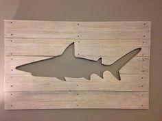 Wooden pallet shark art on Etsy, $80.00 CAD
