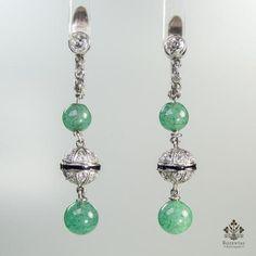 Antique Art Deco Platinum Diamond & Jade Earrings