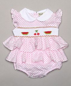 Look at this #zulilyfind! Pink Watermelon Tiered Smocked Bubble Bodysuit - Infant by Classy Couture #zulilyfinds