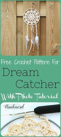 Free crochet pattern with photo tutorial for Dreamcatcher in boho style with feathers | Haaknerd