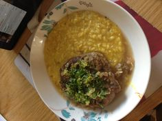 Osso bucco with saffron risotto. River cafe cookbook recipe - most delicious