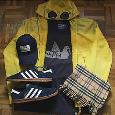 Iconic Casuals. CP Company Millie Miglia fleece, Peaceful Hooligan sweat shirt, Weekend Offender cap, Burberry scarf, Adidas Hamburg trainers