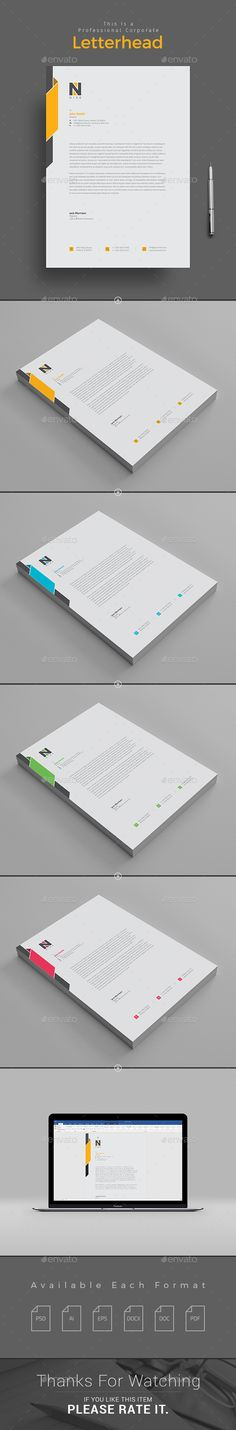 Letterhead is great for any #companyLetterhead design. This awesome letterhead format is just the layout I would love and avaialble in Word, PSD & ai format. 5 color versions are also pretty great.  Download  http://graphicriver.net/item/letterhead/15485975?ref=themedevisers