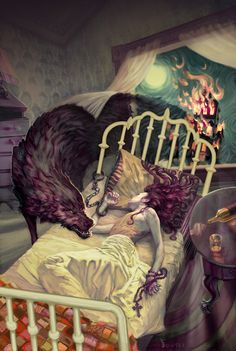 The big bad wolf sneaks into little red riding hood's room for a midnight snack