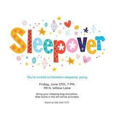 Sleepover - Printable Sleepover Party Invitation Template