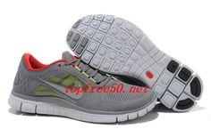 73y43o Cool Grey Silver Sail University Red Nike Free Run 3 Men's Running Shoes