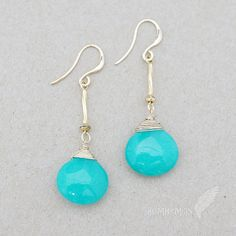 Wire Wrapped Bright Blue Statement Droplets Twisted by Bumhemian, $18.75