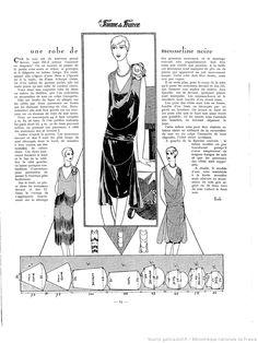 Drafting. Pattern. Vintage 1920. Robe de mousseline noire. La Femme de France 1927