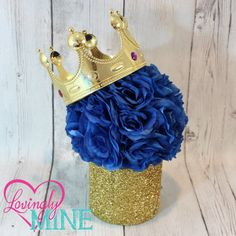 Prince Glitter Gold & Royal Blue Centerpiece, Royal Blue Faux Silk Rose Pomander - King, Birthday, Baby Shower