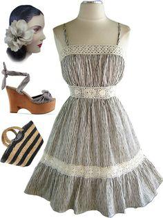 stripe sun dress with crochet lace