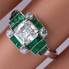Art deco ring, diamonds and emeralds. http://www.annabelchaffer.com/categories/Gentlemen/                                                                                                                                                     More
