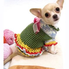Crochet Dog Wedding Dress Bridesmaid Handmade Chihuahua Costume DK867 Myknitt - Free Shipping