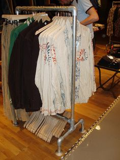 Design and build your own custom clothing racks using pipe and Kee Klamp pipe fittings. Virtually type of clothing rack can be built with Kee Klamp. Diy Clothes Rack, Clothing Racks, Tapestry Loom, Sewing Room Decor, Shops, Garment Racks, Pipe Furniture, Building Furniture, Store Displays