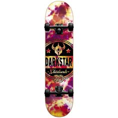Darkstar General 7.875FU Complete, Tie Dye. 7 ply hard rock Maple with our exclusive stiff glue extra. 5.0 T5 aluminum Darkstar trucks with good turning radius. 92A bushings, softer bushing allowing for all weight and size skaters. ABEC 1 Carbon steel speed bearings. New and improved urethane Formula. 95A durometer wheels are perfect Hardness, suitable for both street and park skating.