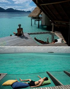 Over-the-water hammock! Love the build into the deck too. I think i am going to need this when i move to Hawaii to study marine biology Dock Hammock, Indoor Hammock Bed, Water Hammock, Backyard Hammock, Hammock Ideas, Lake Dock, Boat Dock, Cabana, Moving To Hawaii