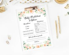 Floral Baby Predictions and Advice Card Editable Baby | Etsy Baby Shower Mad Libs, Baby Shower Wording, Baby Shower Advice, Baby Shower Games, Baby Shower Scramble, Baby Word Scramble, Baby Prediction Cards, Baby Words, Virtual Baby Shower