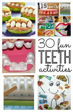 Tips for Healthy Teeth - Great tips, games and activities Dental Health Month! Great tips for teaching your kids about their teeth and super creative teeth crafts and teeth activities for kids. Great for toddler, preschool, kindergarten and elementary age Dental Health Month, Health Class, Health Lessons, Kids Health, Health Education, Health And Nutrition, Oral Health, Dental Public Health, Health Lesson Plans