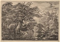 Jacob van Ruisdael [Dutch Baroque Era Painter, ca.1628-1682] van Ruisdael was also a draughtsman, and etcher and generally considered the pre-eminent landscape painter of the Dutch Golden Age.  Etching and drypoint on paper National Gallery of Art, Washington DC