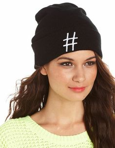 4181f99c452 Hashtag Fold-Over Beanie  Charlotte Russe