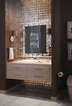 Bathrooms - Crossville/mirror tile/white floating vanity/brown walls in bathroom