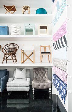 Furniture and fabrics on display at Serena & Lily Design Shop. #serenaandlily