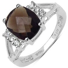 3.10 ct. t.w. Smoky Quartz and White Topaz Ring in Sterling Silver available at joyfulcrown.com