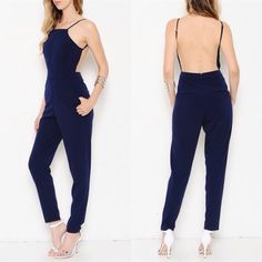 """Admiration"" Navy Blue Backless Jumpsuit Navy blue backless jumpsuit. Junior sizing. Brand new without tags. NO TRADES. Bare Anthology Dresses"