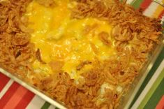 Cheesy Mashed Potato Casserole topped with onion straws for a nice crunch.