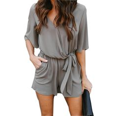 a5383c33d863 New Casual Women Playsuit Sexy V-Neck Romper Thin Chiffon Summer Playsuits  Beach Overalls Jumpsuits