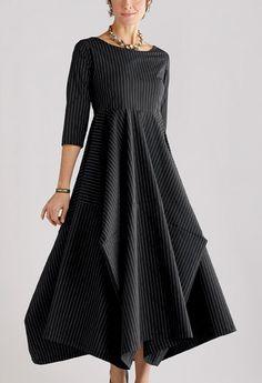 Poplin Beth Dress: Three-quarter Sleeve Pinstripe & Solid: Lynn Mizono: Poplin Dress - Artful Home