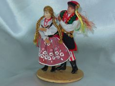 Vintage Poland Folk Art Doll Man and Women dance by nalika