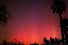The red glow of a very rare display of the aurora borealis over Borrego Springs, California.