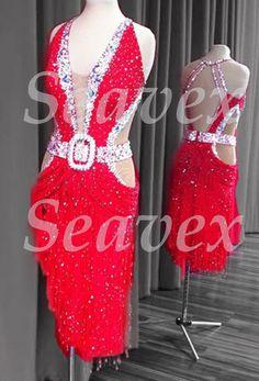 L2951 Ballroom party latin rumba salsa samba chacha dance dress US 8 Red #seahunter