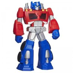 A 22-inch tall Optimus Prime action figure with multiple spaces for storing and displaying Transformers Rescue Bots action figures, sold separately.