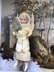 Watte Dame Winterkind,Wattefigur ,jdl,shabby,Porzellankopf CBS 16 cm Mädchen  | eBay