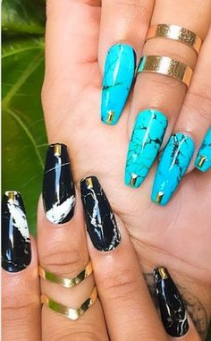 Teal-Black-White-Gold Square Tip Stiletto Manicure Ideas